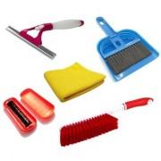 Stylewell Combo Of Mini Dustpan Broom Set Microfiber Towel Cloth Glass Sprayer Wiper Magic Roller Carpet Cleaning Brush