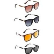 Ultra Digits Wayfarer Sunglasses(Brown, Grey, Orange, Black)