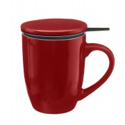 Cana cu infuzor pentru Ceai, 320 ml, Portelan, Rosu