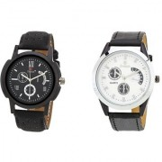 Evelyn Round Dial Black Synthetic Strap Quartz Watch For Men (Combo)