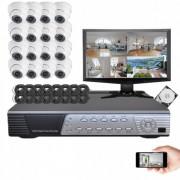Kit vidéosurveillance 16 dômes CMOS 600 lignes
