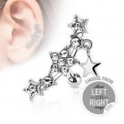 Piercing Street Piercing cartilage multi gemmes étoiles