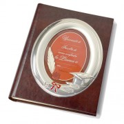 album fotografico laurea - in pelle con cornice in argento