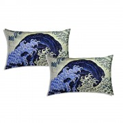 Sognando Tokyo Set 2 Federe 50x80 Japan Mania-Katsushika Hokusai-Feminine Wave