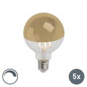 Calex Set of 5 E27 LED G95 Filament Mirror Gold 4W 280LM