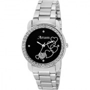 Arum Black Round Dial Stainless Steel Strap Wrist Watch for Women's and Girl's ASWW-026