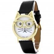Reloj Blackmamut Hipster Cat Análogo Resistente A Salpicaduras De Agua Diseño Exclusivo Incluye Estuche Blister - Negro