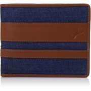 Fastrack Men Casual Brown, Blue Genuine Leather Wallet(4 Card Slots)