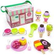 Toy Playset, 25pcs Wooden Traveling Ice Cream Parlor Kids Toys Playsets