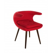 Replica Frost Chair by Bo Strange with Red Soft Cashmere Fabric and Walnut Wood Legs