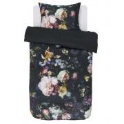 Essenza Bavlněné povlečení na postel, saténové povlečení, obrázkové povlečení, povlečení na jednolůžko, černá barva, velké květiny, Essenza, 140 x 220 cm -…