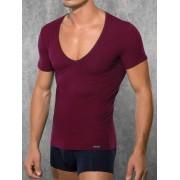 Doreanse Облегающая мужская футболка бордового цвета с глубоким вырезом Doreanse City 2820c60