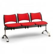 Kovo Praktik RAUMAN Čalouněné lavice SMART, 3-sedák, chromované nohy černá