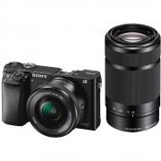 Sony A6000 Aparat Foto Mirrorless 24MP APSC Full HD Kit cu Obiectiv 16-50 F/3.5-5.6 OSS si 55-210 F/4.5-6.3 OSS Negru