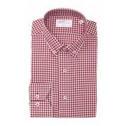 Lorenzo Uomo Mini Textured Gingham Trim Fit Dress Shirt DARK RED