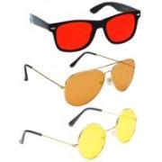 Elligator Aviator, Wayfarer, Round Sunglasses(Red, Orange, Yellow)