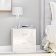 vidaXL Нощни шкафчета, бял гланц, 2 бр, 40x30x40 см, ПДЧ