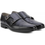 Clarks Amieson Monk Black Leather Lace Up For Men(Black)