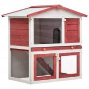 vidaXL Външна клетка за зайци, 3 врати, червена, дърво