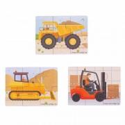 Set 3 puzzle din lemn Vehicule pentru constructii