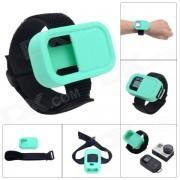 Cinturon de muneca funda protectora de silicona para GoPro Hero3 + / 3 Wi-Fi de control remoto - verde azul