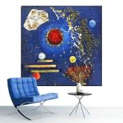 Tablou Canvas Compozitie Abstracta, Albastru si Rosu CTB38 (Optiuni Tablou: 40x40cm)