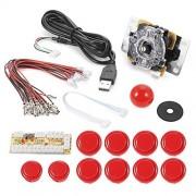 XCSOURCE Zero Delay Arcade Game USB Encoder PC Joystick DIY Kit for Mame Jamma & Other PC Fighting Games (Red) AC488