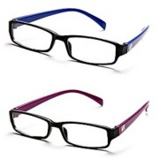 Rsb1-Rsp3 Black-Purple Frame Rectangle Unisex Eyeglasses - Buy 1 Get 1 Free