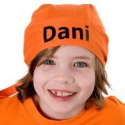 Oranje bandana met naam bedrukt