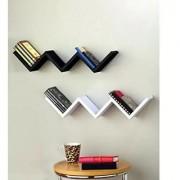 Onlineshoppee Handicraft W Shape Designer MDF Wall Shelf - Set Of 2 - Black White
