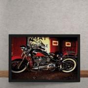 Quadro Decorativo Moto Custom Vermelha 25x35
