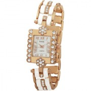 Howdy Crystal White Rectangale Dial Analog Watch With Multicolour Stainless Steel chain