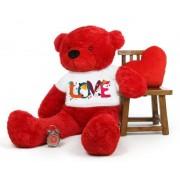 Red 5 feet Big Teddy Bear wearing a Beautiful Love Design T-shirt