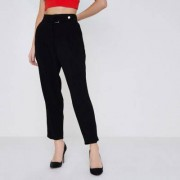 River Island Womens Petite Black D-ring belted tapered trousers - Size