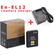 Nikon EN-EL12 Battery + MH-65 Charger For Nikon S710 S640 Free Power Cable