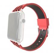 Voor Apple Watch 38mm streep Silicone horlogeband met Connector (rood + zwart)