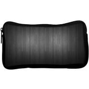 Snoogg Plain Black Poly Canvas Student Pen Pencil Case Coin Purse Utility Pouch Cosmetic Makeup Bag