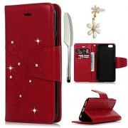 iPhone 6S Plus 6 Plus Case 5.5 -MOLLYCOOCLE Stand Wallet Premium PU Leather Bling Diamond Butterfly Magnetic Hand Wrist Strap TPU Bumper Cover for iPhone 6S Plus 6 Plus Dust Plug Stylus Pen Red