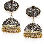 Rubans Oxidised Dual Tone Floral Filigree Jhumka Earrings
