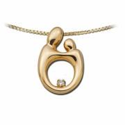 14K Gouden Hanger met Diamant, Groot, Mother & Child