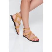 Sandale StarShinerS crem casual din piele naturala cu talpa joasa si barete subtiri