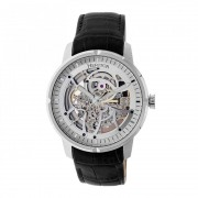 Heritor Automatic Ryder Skeleton Leather-Band Watch - Black/Silver/Silver HERHR4601