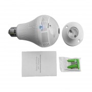 Bombilla De Luz De 360 Grados AP Inalámbrico Wi-Fi Cámara Lente Ojo De Pez Blanco Lámpara Panorámica