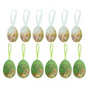6 Pcs Assorted Colors Easter Painted Eggshells Decoration Handmade Paint Hanging Eggs