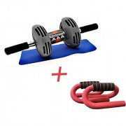 IBS Power Stretch Instafit Roller With Free Mat And 1 Push Up Bar Ab Exerciser (Greyblack)
