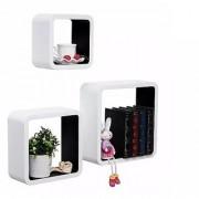 Onlineshoppee MDF Artesania Cube Floating Wall Shelves Set of 3 Black