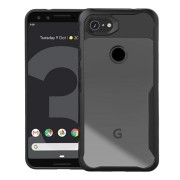 Anti-Shock Google Pixel 3a Hybrid Case - Zwart / Doorzichtig