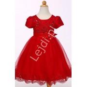 Lejdi Czerwona tiulowa sukienka w krótki rękawek sukienki dla dziewczynki