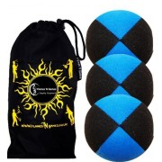 """3x Pro Thud Juggling Balls - Deluxe (SUEDE) Professional Juggling Ball Set of 3 with """"Kid-Jo Learn To Juggle"""" DVD, and Fabric Travel Bag! (Black/Blue)"""