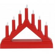 Bellatio Decorations Rode LED kaarsenbrug warm wit 7 lampjes